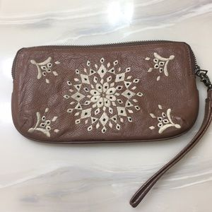 Wristlet, leather, Lucky Brand